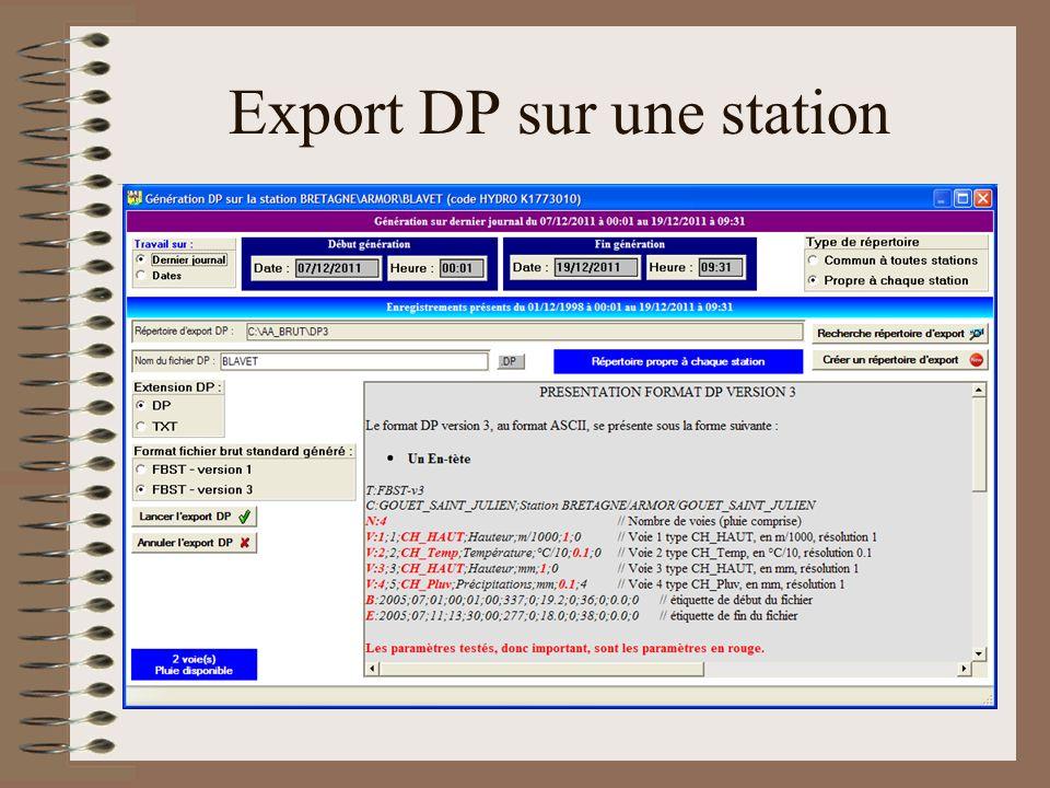 Export DP sur une station