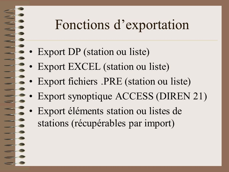 Fonctions d'exportation