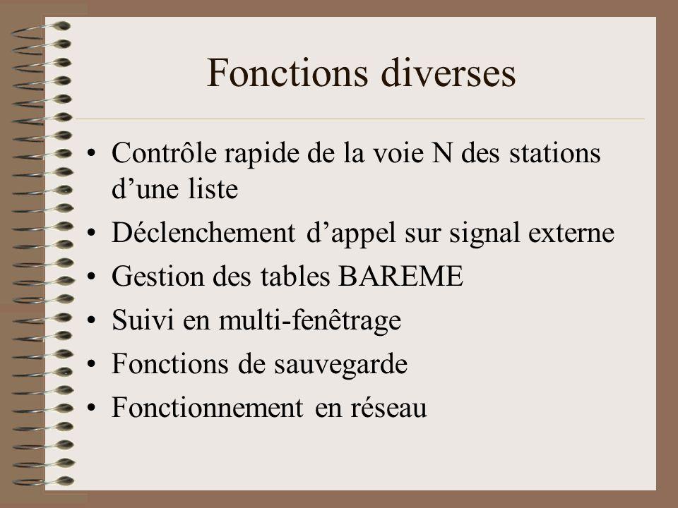 Fonctions diverses Contrôle rapide de la voie N des stations d'une liste. Déclenchement d'appel sur signal externe.