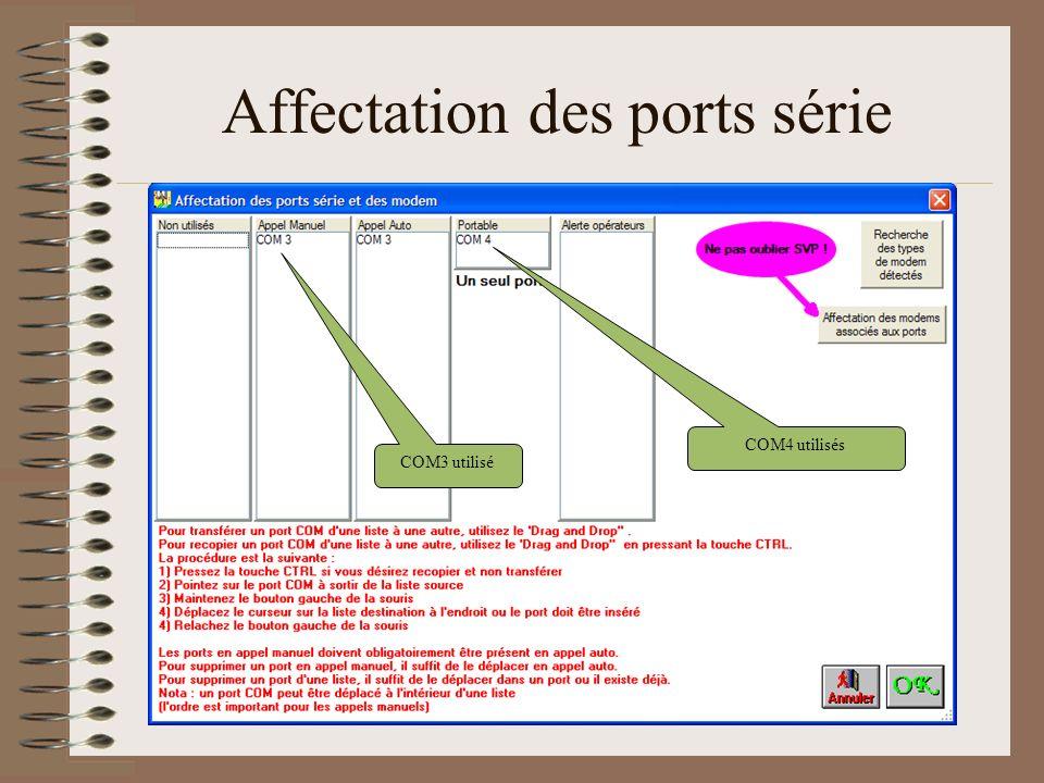 Affectation des ports série
