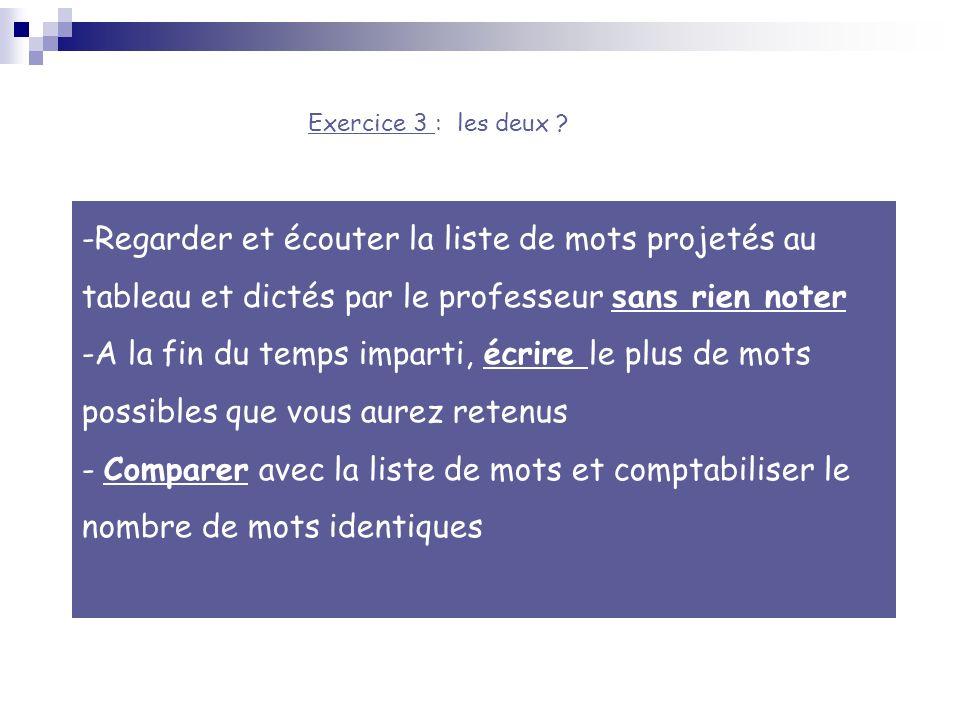 Exercice 3 : les deux Regarder et écouter la liste de mots projetés au tableau et dictés par le professeur sans rien noter.