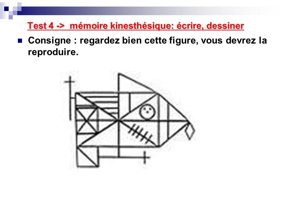 Test 4 -> mémoire kinesthésique: écrire, dessiner