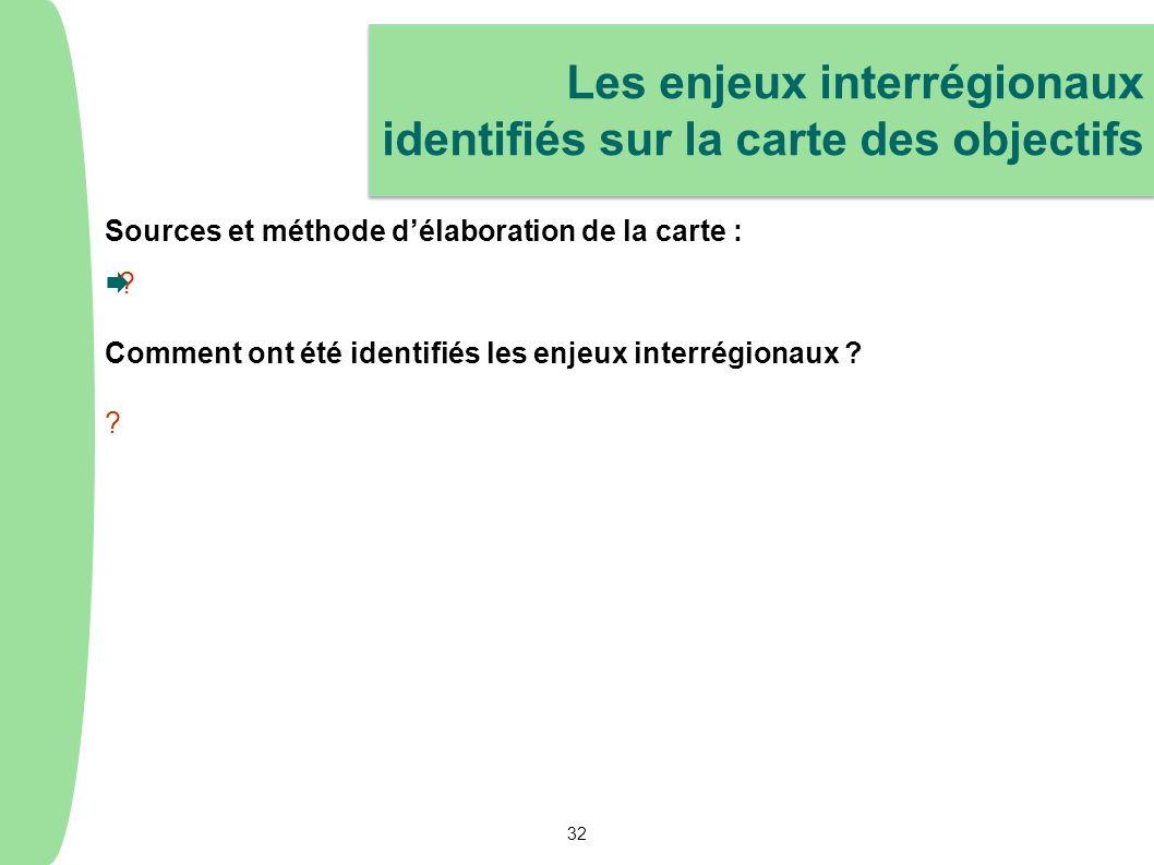Les enjeux interrégionaux identifiés sur la carte des objectifs