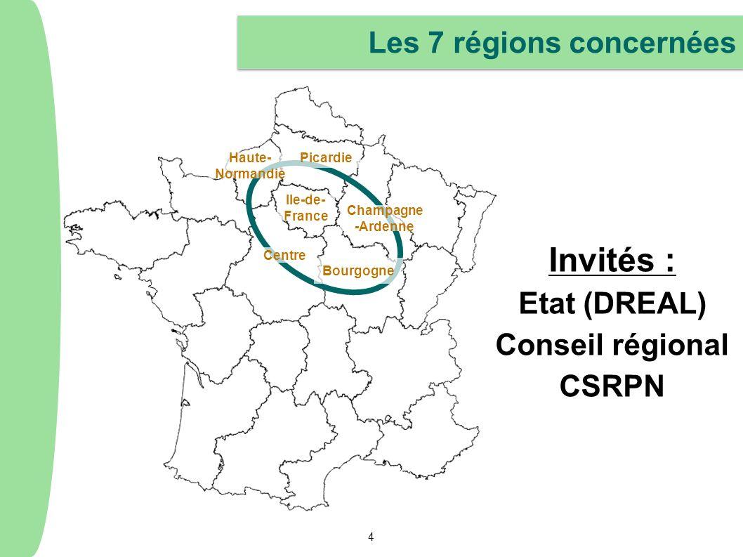 Invités : Les 7 régions concernées Etat (DREAL) Conseil régional CSRPN