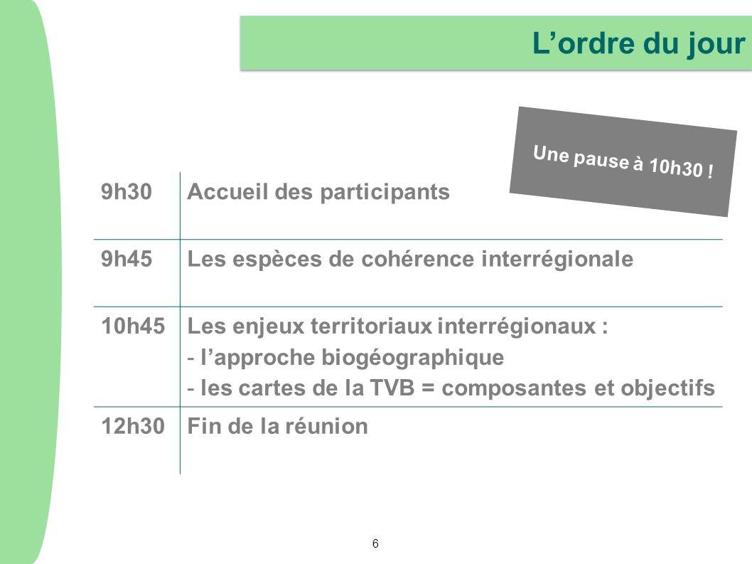 L'ordre du jour 9h30 Accueil des participants 9h45