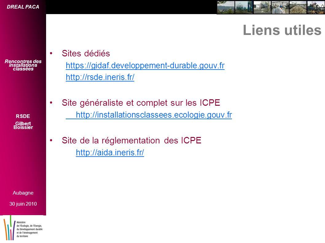 Liens utiles Sites dédiés Site généraliste et complet sur les ICPE