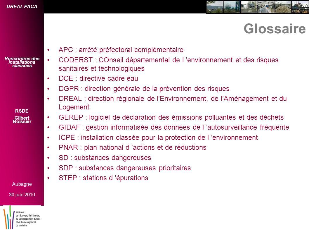 Glossaire APC : arrêté préfectoral complémentaire