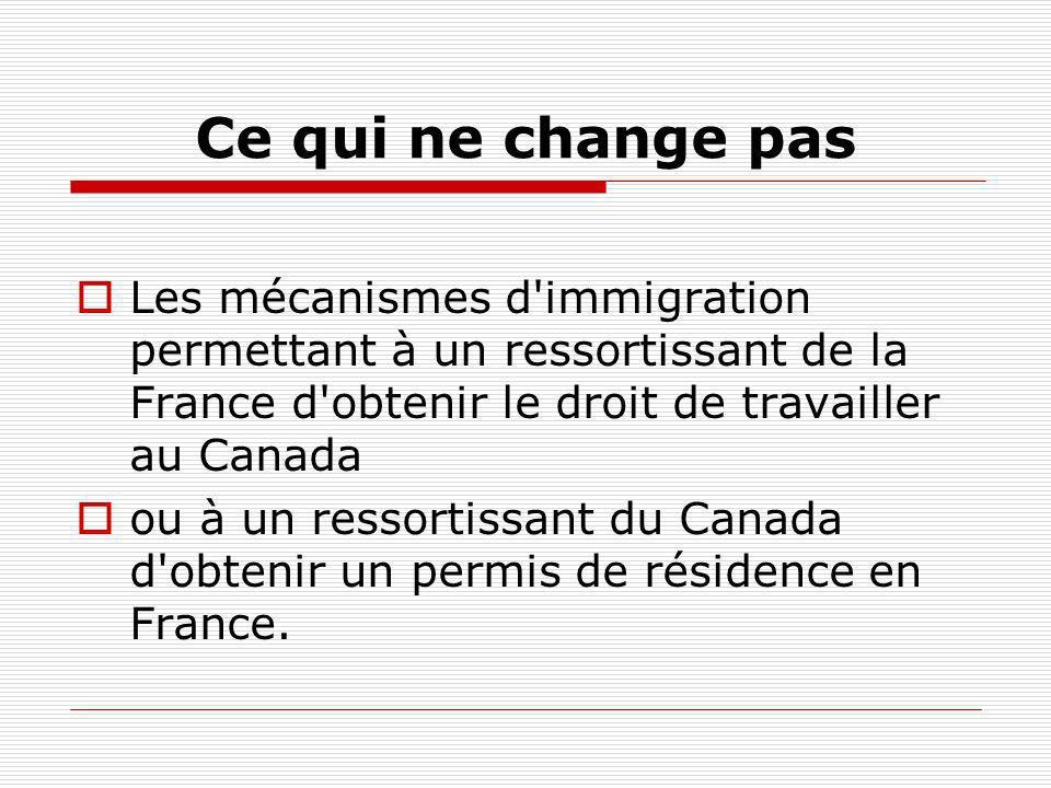 Ce qui ne change pas Les mécanismes d immigration permettant à un ressortissant de la France d obtenir le droit de travailler au Canada.