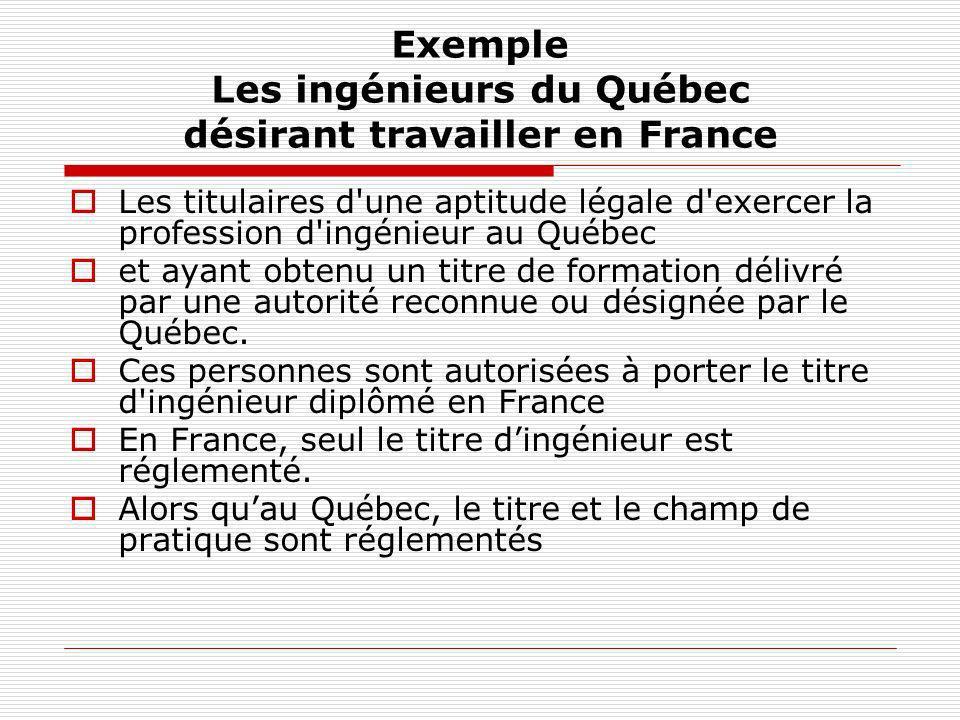 Exemple Les ingénieurs du Québec désirant travailler en France