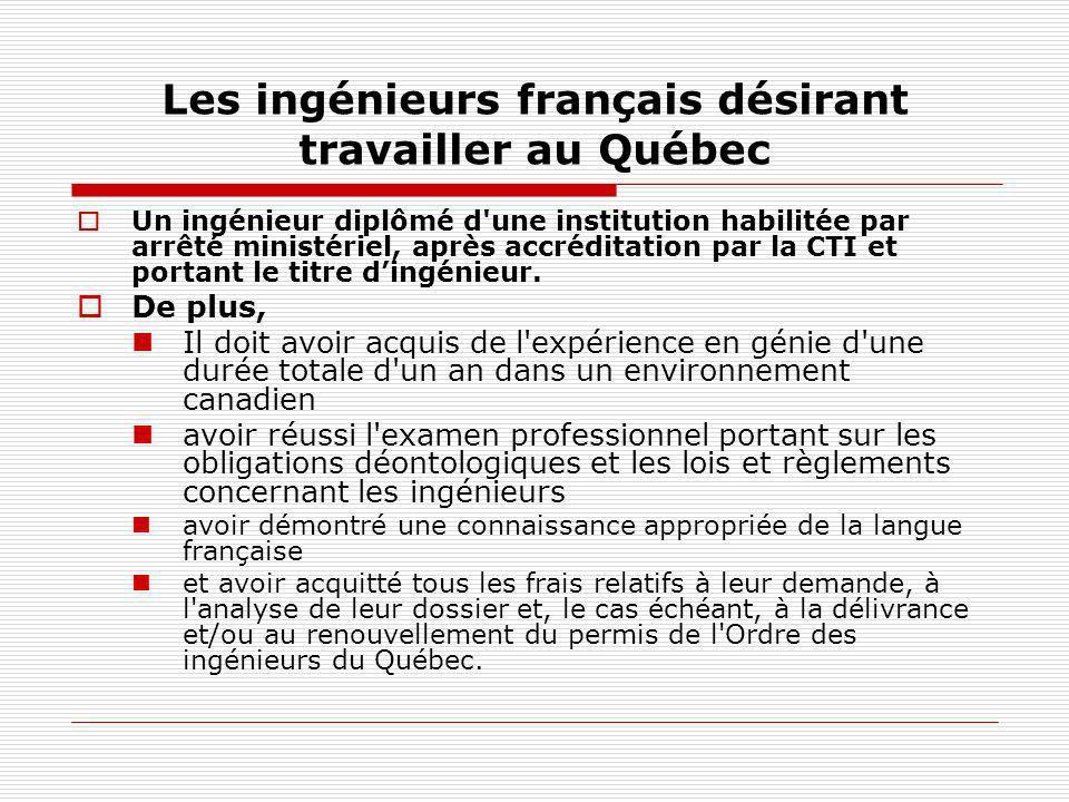 Les ingénieurs français désirant travailler au Québec
