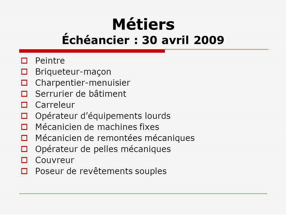 Métiers Échéancier : 30 avril 2009