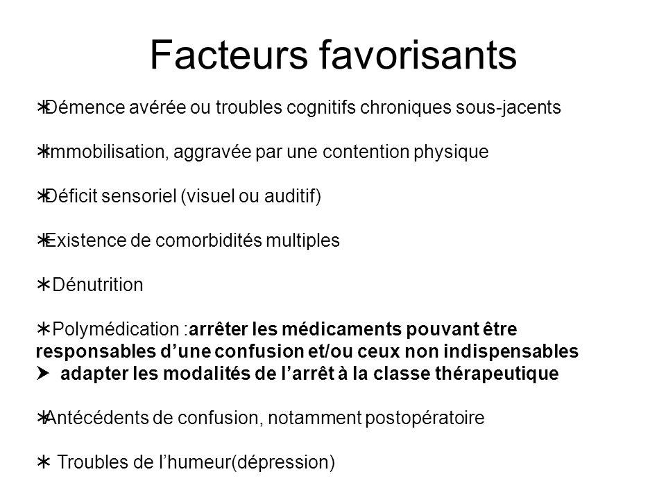Facteurs favorisants Démence avérée ou troubles cognitifs chroniques sous-jacents. Immobilisation, aggravée par une contention physique.
