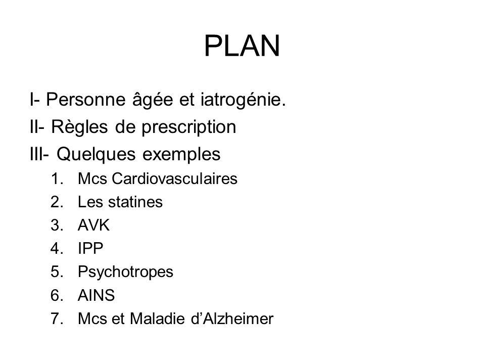 PLAN I- Personne âgée et iatrogénie. II- Règles de prescription