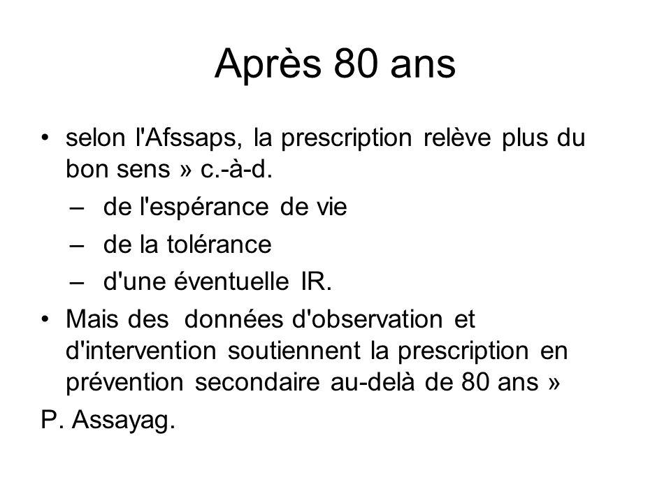 Après 80 ans selon l Afssaps, la prescription relève plus du bon sens » c.-à-d. de l espérance de vie.
