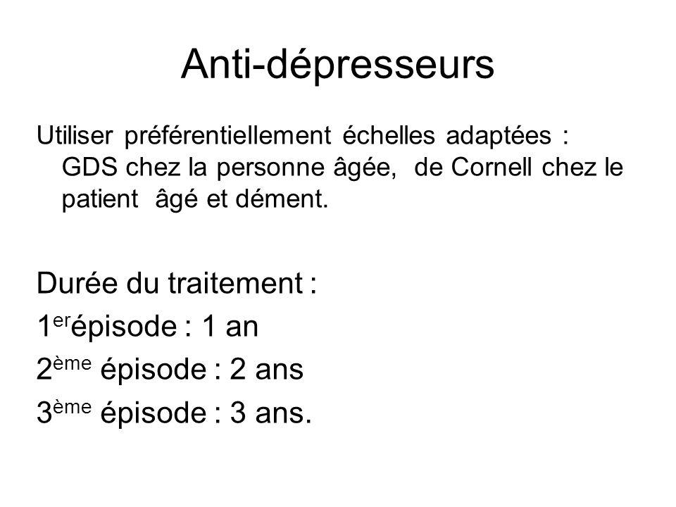 Anti-dépresseurs Durée du traitement : 1erépisode : 1 an
