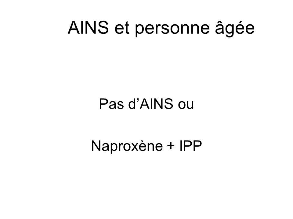 AINS et personne âgée Pas d'AINS ou Naproxène + IPP