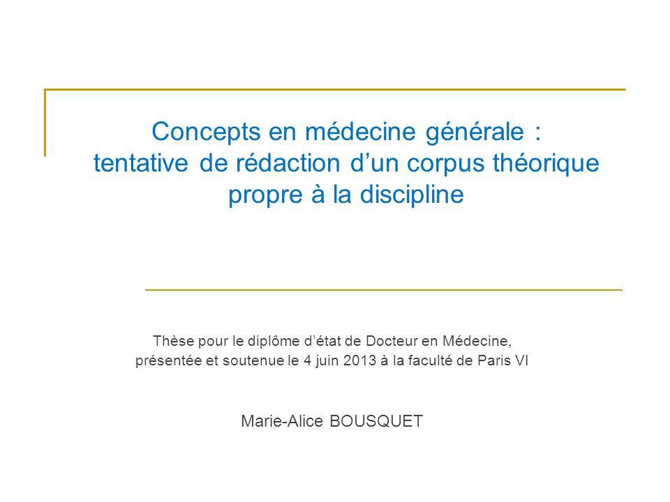 Concepts en médecine générale : tentative de rédaction d'un corpus théorique propre à la discipline