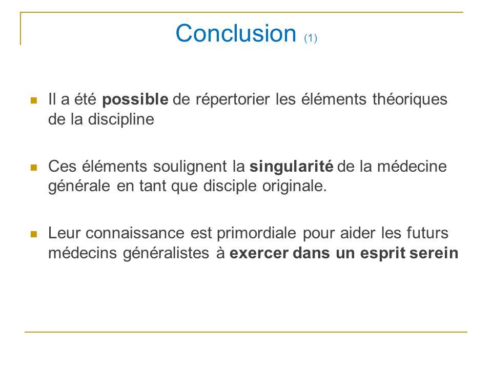 Conclusion (1) Il a été possible de répertorier les éléments théoriques de la discipline.