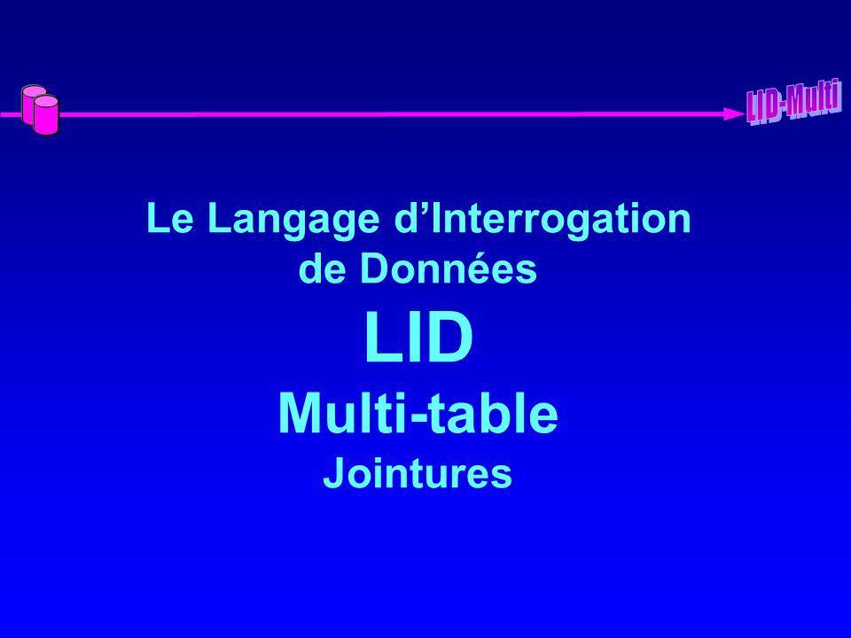 Le Langage d'Interrogation de Données LID Multi-table Jointures