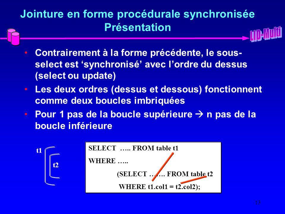 Jointure en forme procédurale synchronisée Présentation