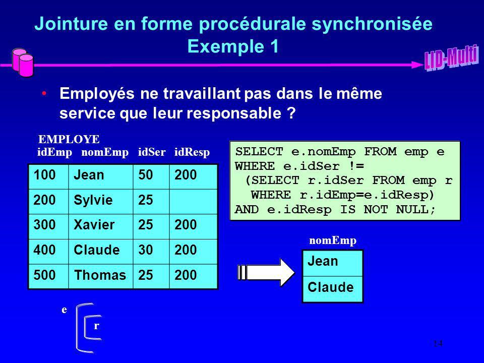 Jointure en forme procédurale synchronisée Exemple 1