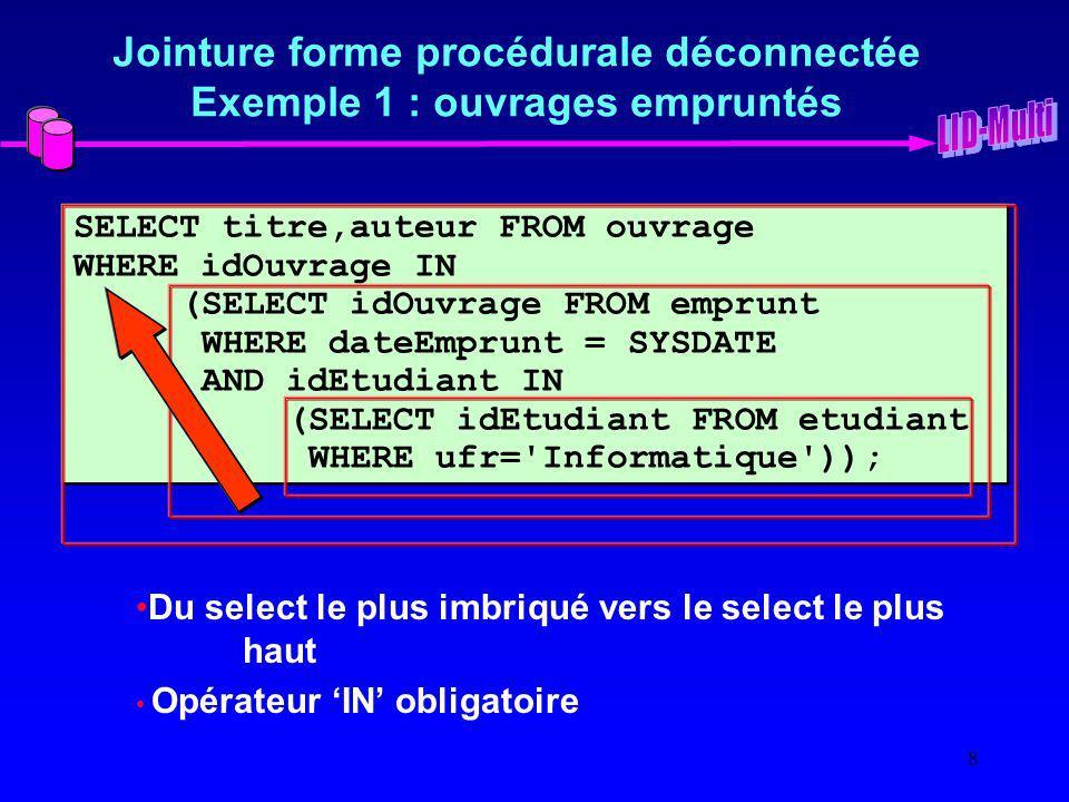 Jointure forme procédurale déconnectée Exemple 1 : ouvrages empruntés