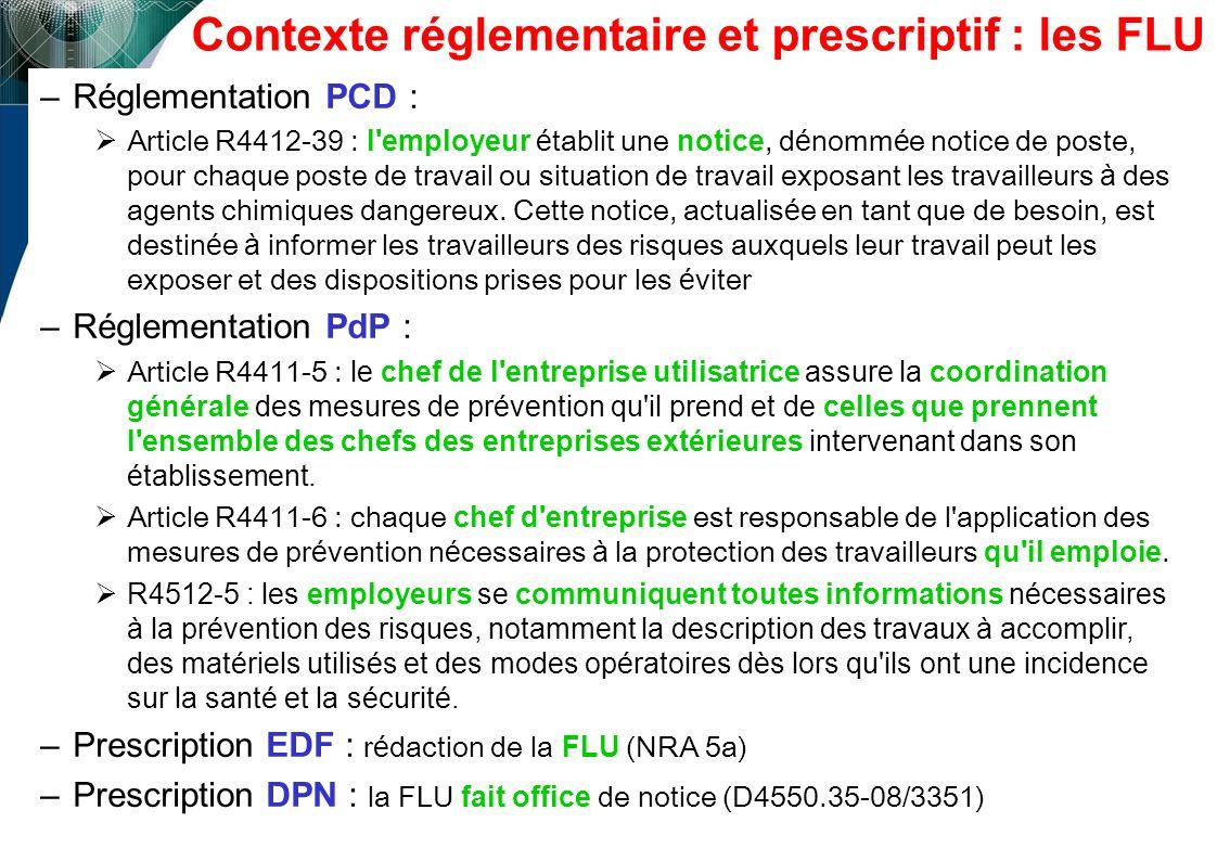 Contexte réglementaire et prescriptif : les FLU