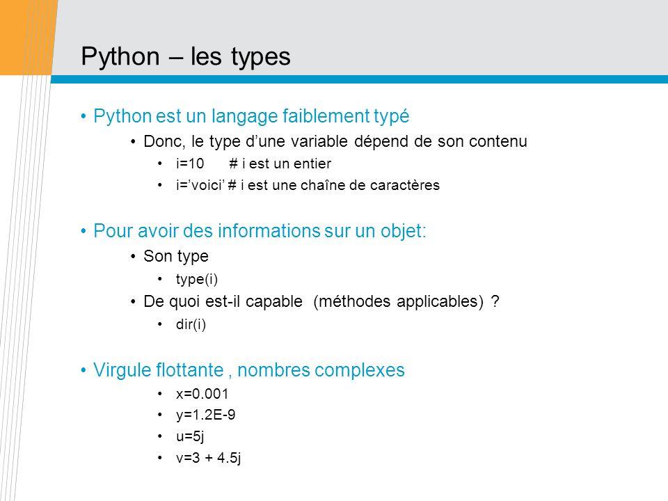 Python – les types Python est un langage faiblement typé