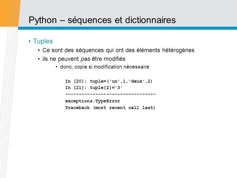 Python – séquences et dictionnaires