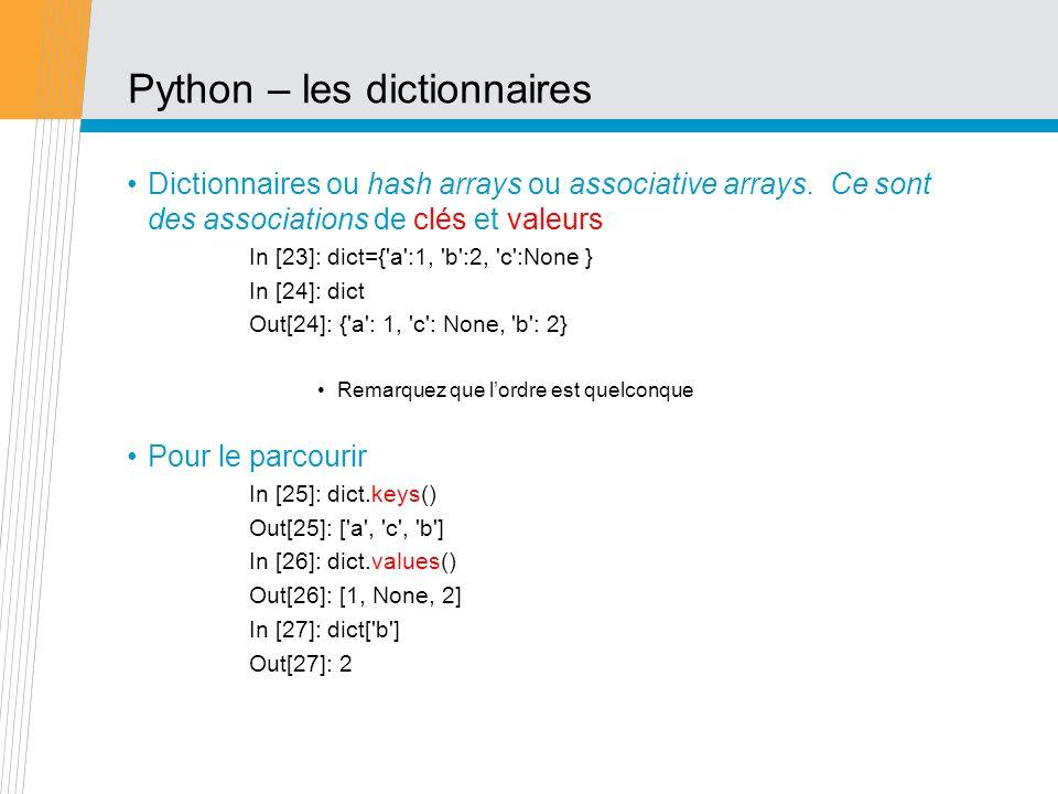 Python – les dictionnaires
