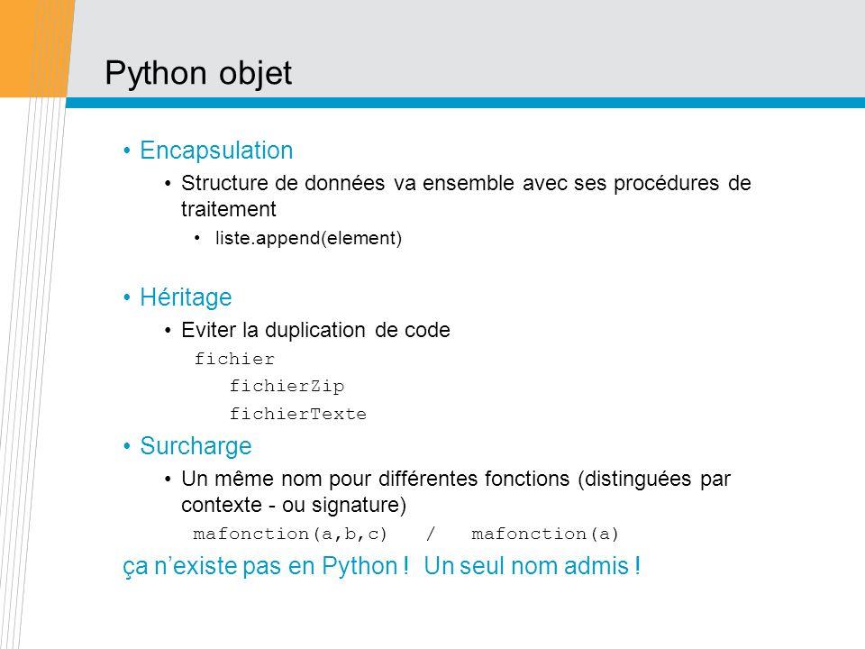 Python objet Encapsulation Héritage Surcharge