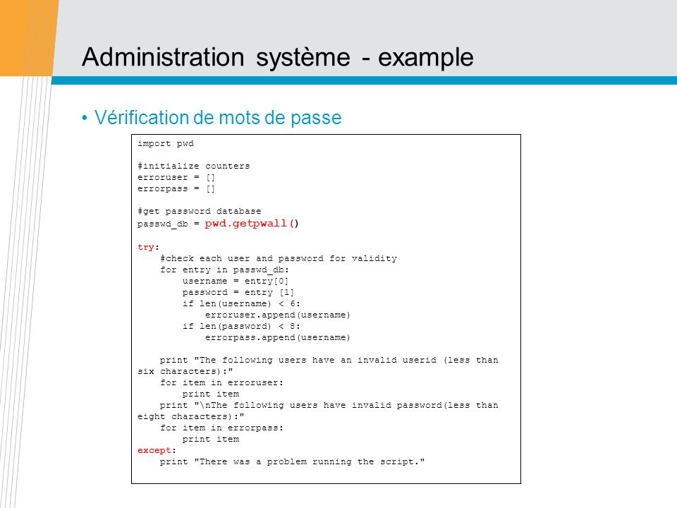 Administration système - example