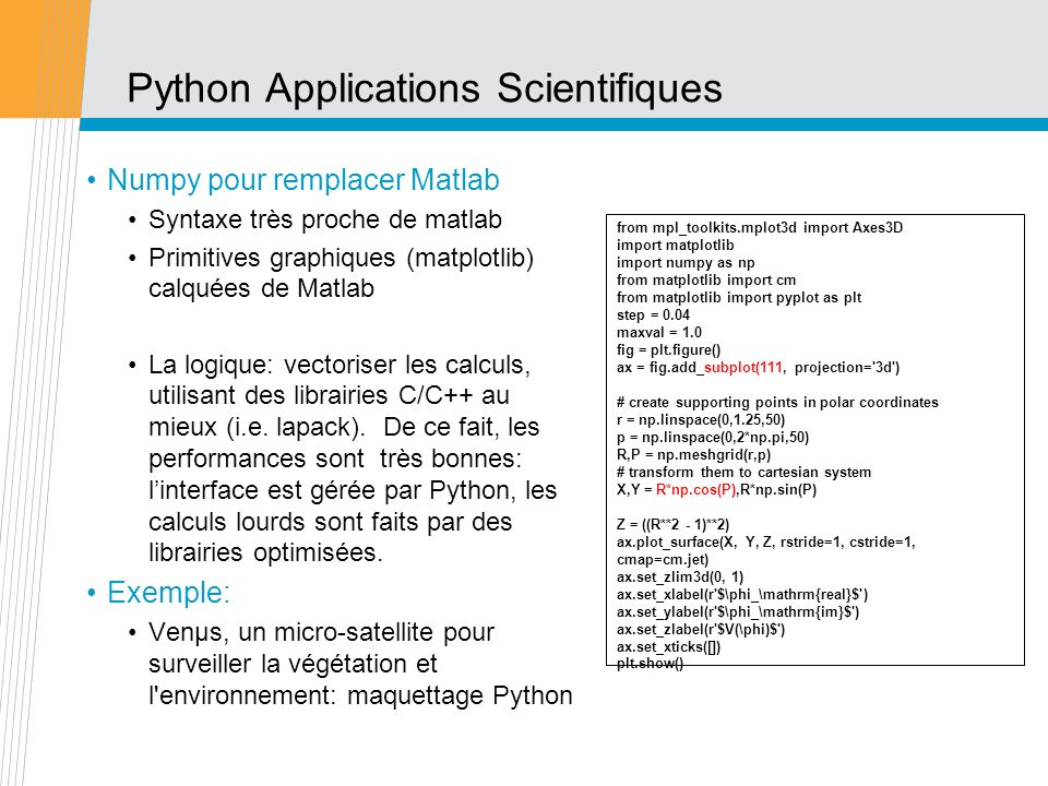 Python Applications Scientifiques