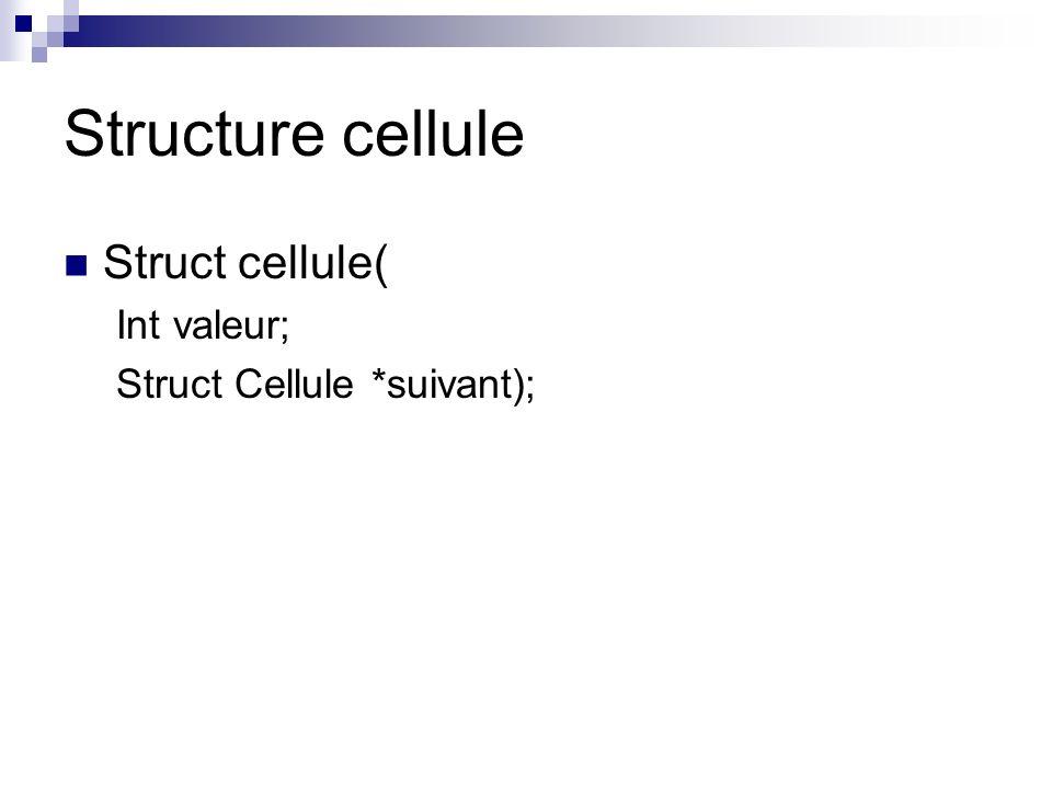 Structure cellule Struct cellule( Int valeur;