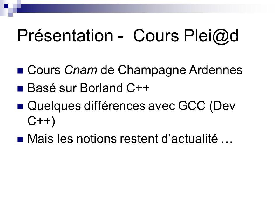 Présentation - Cours Plei@d