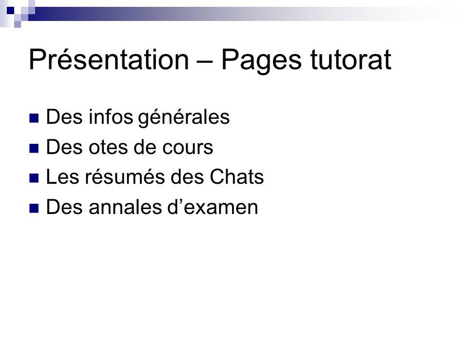 Présentation – Pages tutorat