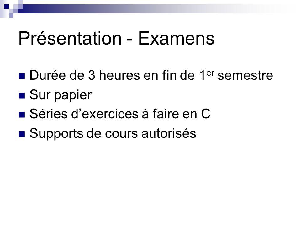 Présentation - Examens