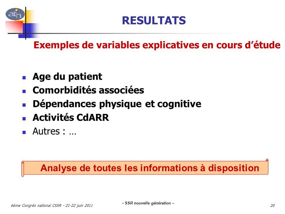 RESULTATS Exemples de variables explicatives en cours d'étude