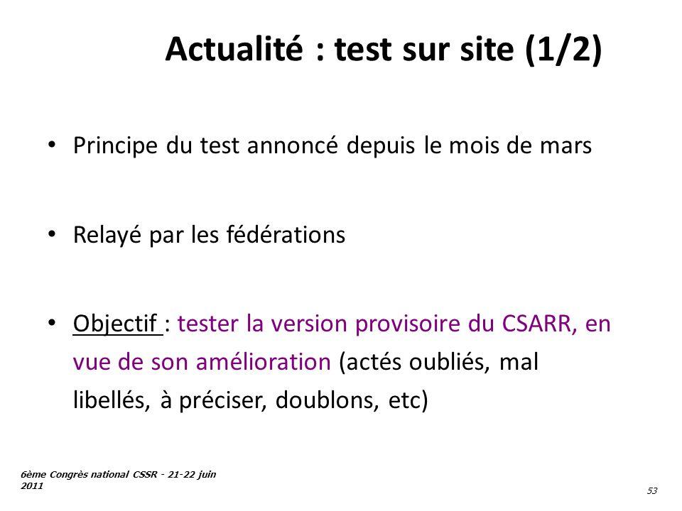 Actualité : test sur site (1/2)