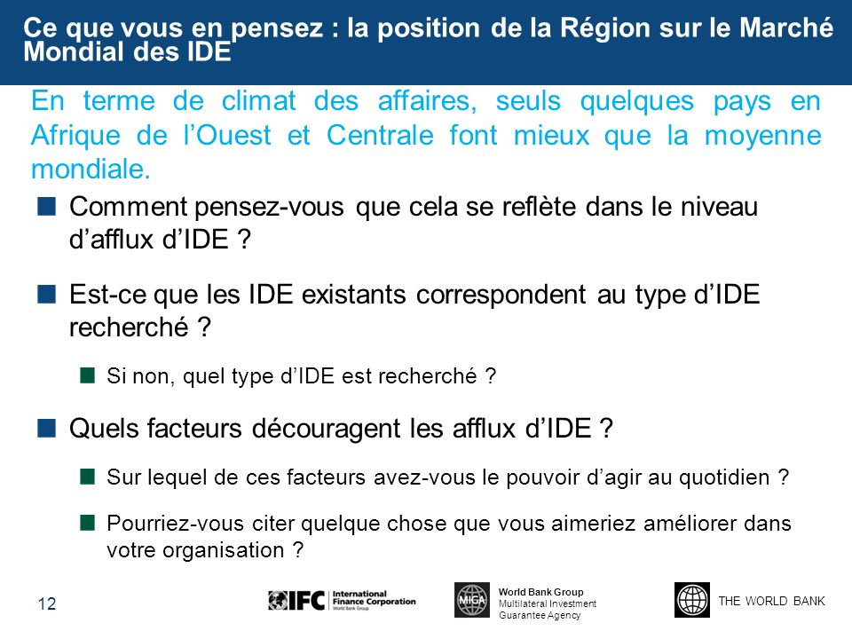 Ce que vous en pensez : la position de la Région sur le Marché Mondial des IDE