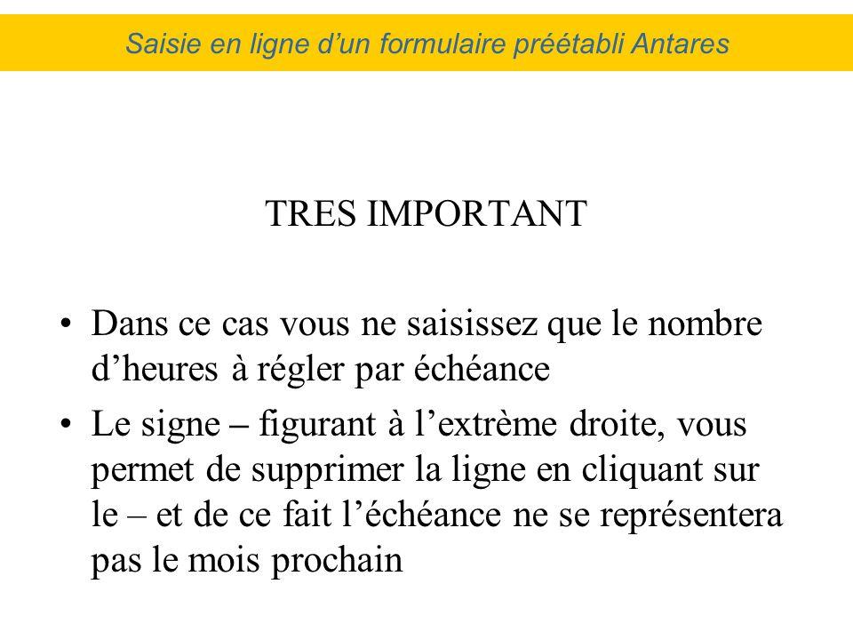 Saisie en ligne d'un formulaire préétabli Antares