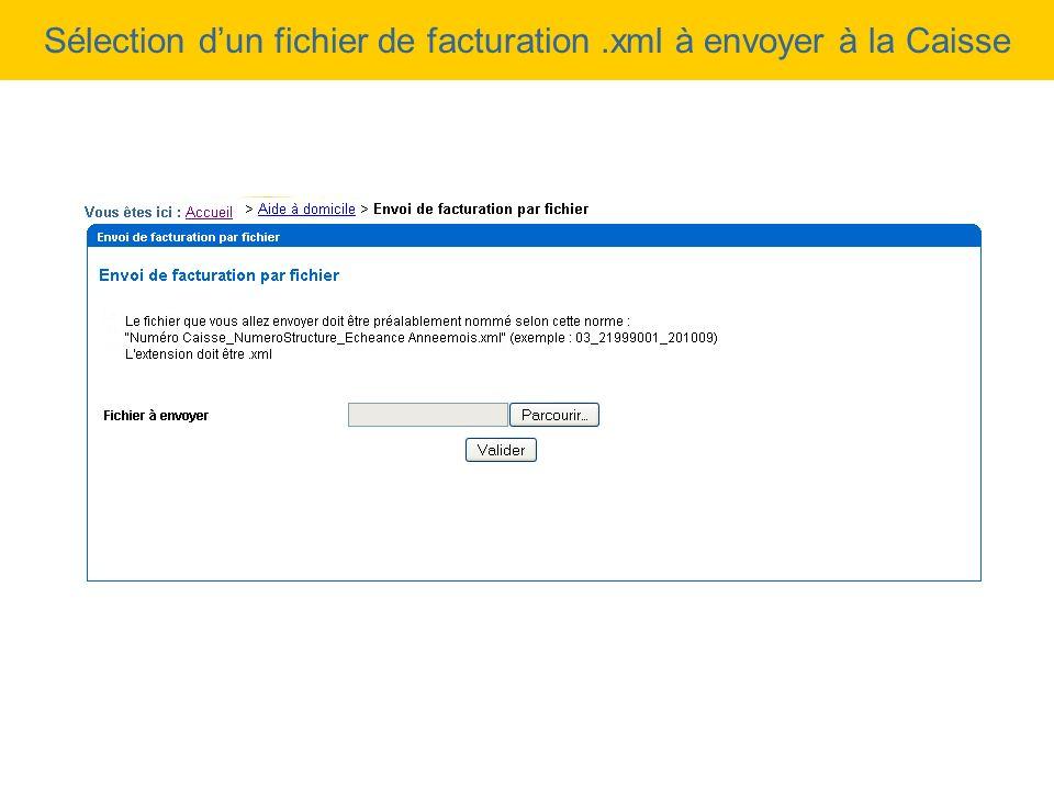 Sélection d'un fichier de facturation .xml à envoyer à la Caisse