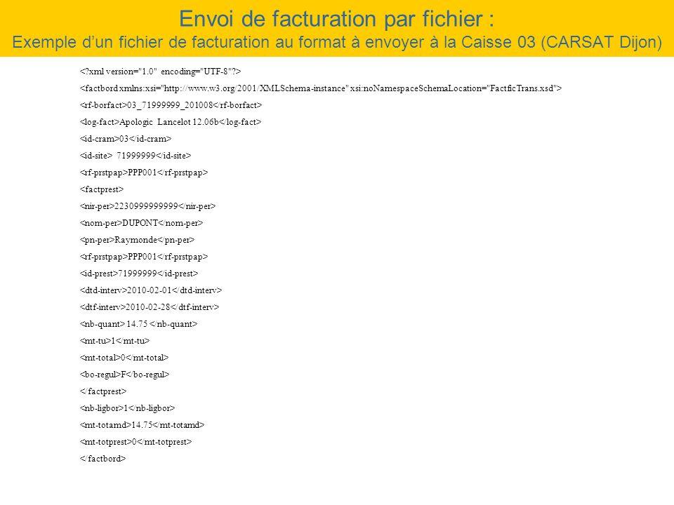 Envoi de facturation par fichier : Exemple d'un fichier de facturation au format à envoyer à la Caisse 03 (CARSAT Dijon)