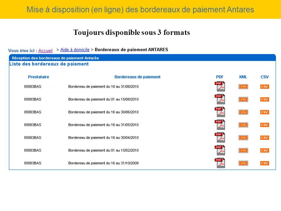 Mise à disposition (en ligne) des bordereaux de paiement Antares
