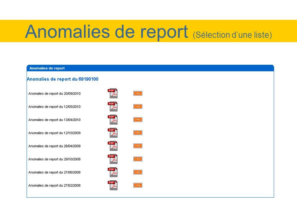 Anomalies de report (Sélection d'une liste)