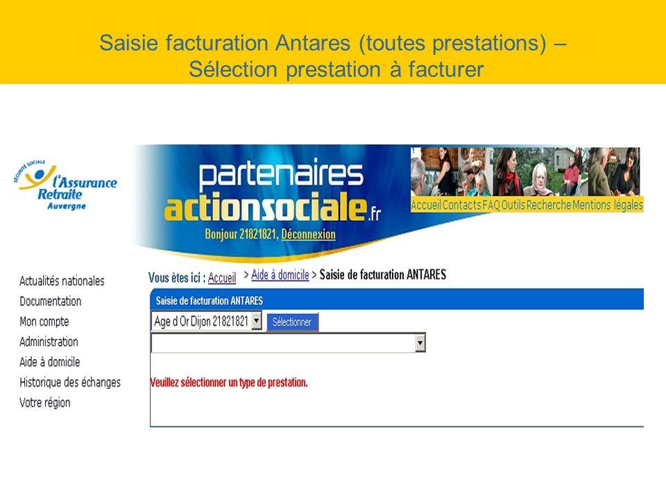 Saisie facturation Antares (toutes prestations) – Sélection prestation à facturer