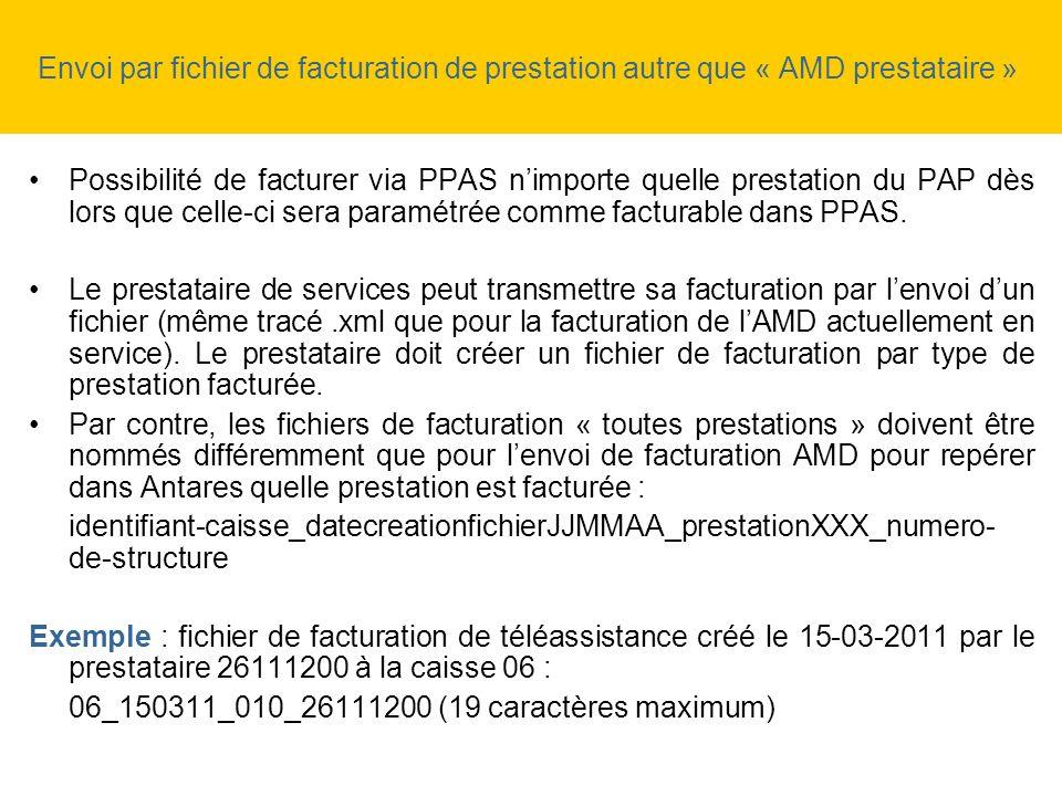 Envoi par fichier de facturation de prestation autre que « AMD prestataire »