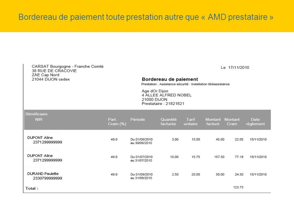 Bordereau de paiement toute prestation autre que « AMD prestataire »