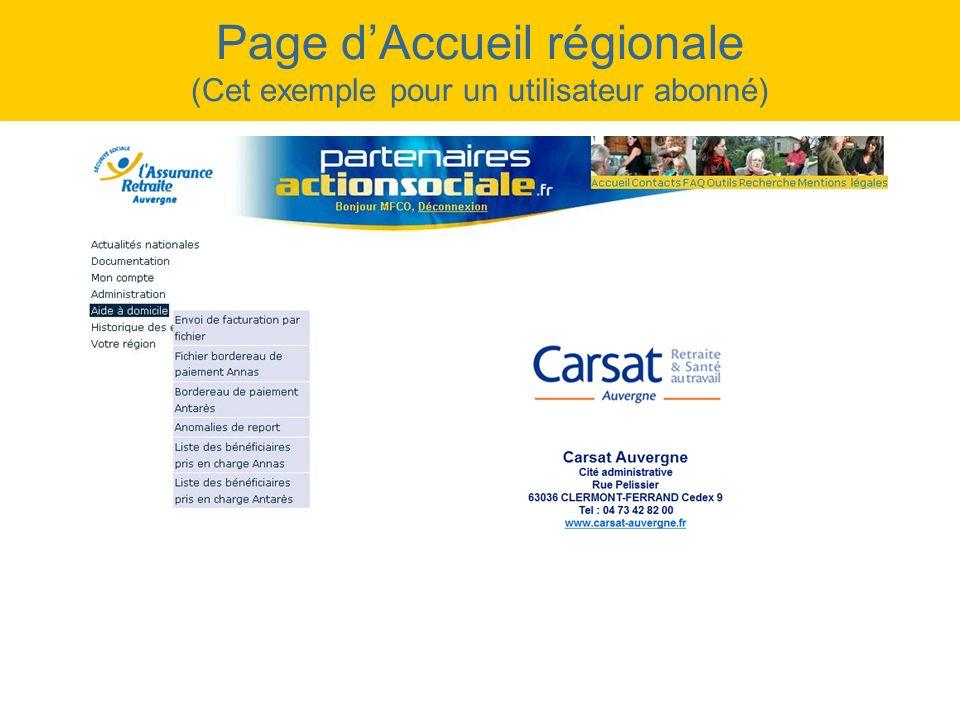Page d'Accueil régionale (Cet exemple pour un utilisateur abonné)