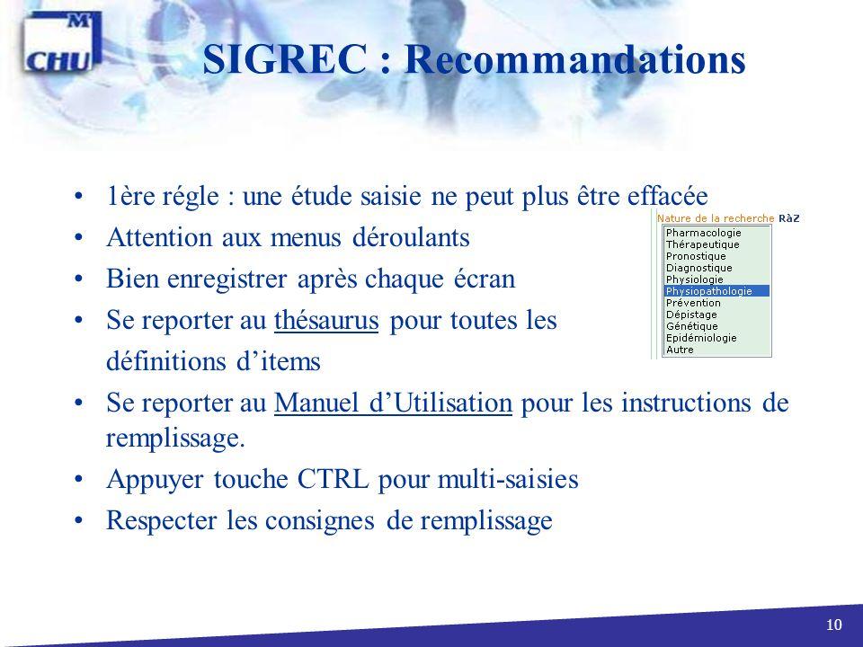 SIGREC : Recommandations